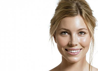 women, models, Jessica Biel, celebrity, simple background, white background - desktop wallpaper