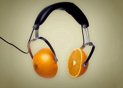 headphones, oranges - desktop wallpaper