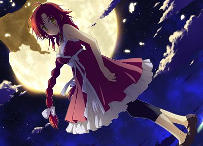 night, stars, redheads, Moon, yellow eyes, Minami Kana, Irotoridori no Sekai - related desktop wallpaper