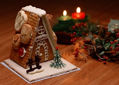 desserts, Christmas cookies, candles, blurred, mistletoe, gingerbread house - newest desktop wallpaper