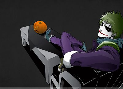 Batman, Bleach, Kurosaki Ichigo, The Joker, Hollow Ichigo, crossovers, simple background, pumpkins - desktop wallpaper