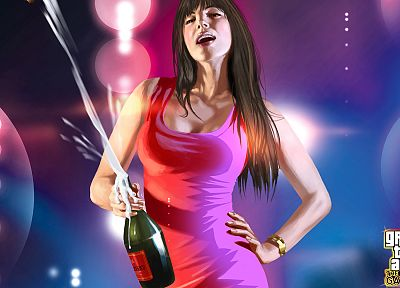 brunettes, women, Grand Theft Auto, artwork, Champagne, The Ballad of Gay Tony - random desktop wallpaper