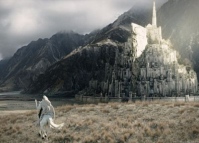 mountains, movies, Minas Tirith, Gandalf, The Lord of the Rings, fantasy art, horses, Ian Mckellen, staff, Gondor, The Return of the King - random desktop wallpaper