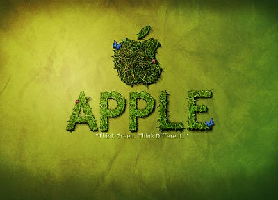 green, Apple Inc., grass, textures, slogan, brands, logos - desktop wallpaper