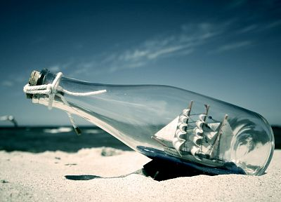 bottles, ships, vehicles, beaches - related desktop wallpaper