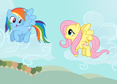 fly, Fluttershy, ponies, Rainbow Dash, My Little Pony: Friendship is Magic - desktop wallpaper