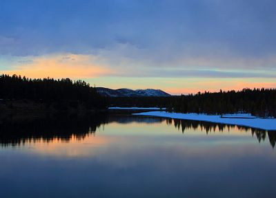 water, sunset, landscapes, lakes, rivers - related desktop wallpaper