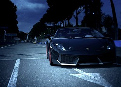black, trees, night, cars, Lamborghini, scenic, vehicles - related desktop wallpaper