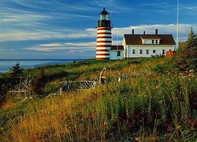 sunrise, Maine, head, lighthouses - random desktop wallpaper