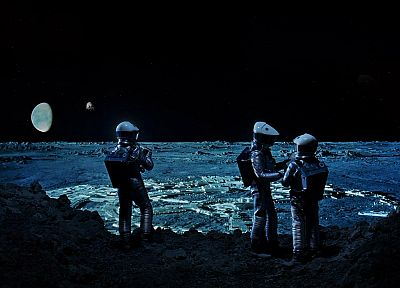 Moon, astronauts, 2001: A Space Odyssey, science fiction - related desktop wallpaper