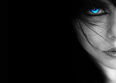 women, blue eyes, selective coloring, faces, black background - random desktop wallpaper