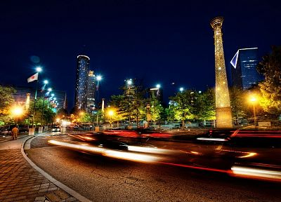 cityscapes, streets, night, long exposure, Pices - related desktop wallpaper