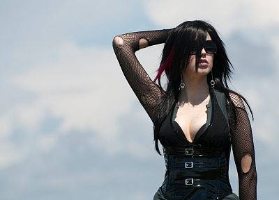 brunettes, fetish, corset, Gothic, sunglasses - desktop wallpaper