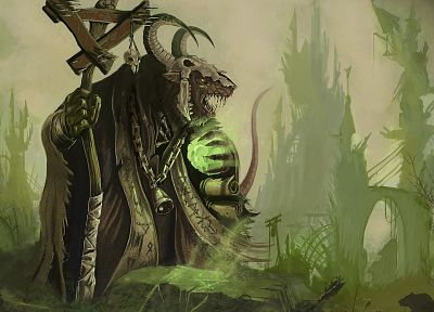 skulls, Warhammer, horns, fantasy art, artwork, rats, Skaven, staff - related desktop wallpaper