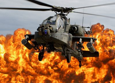 military, helicopters, explosions, vehicles, Apache Longbow - desktop wallpaper
