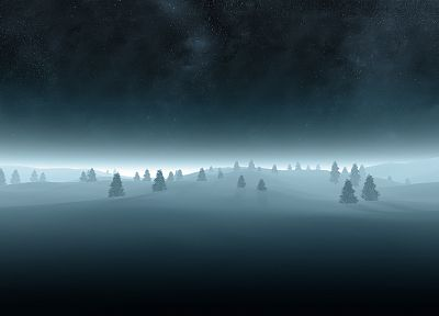 clouds, landscapes, winter, snow, trees, night, stars, snow landscapes - random desktop wallpaper