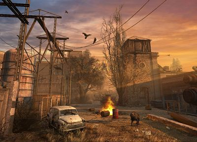 sunset, S.T.A.L.K.E.R., ruins, cityscapes, dark, birds, cars, fire, dogs, buildings, Chernobyl, apocalypse, Industrial, vehicles, Zaz - random desktop wallpaper
