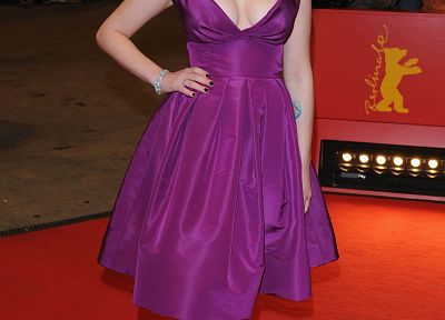 women, Scarlett Johansson, actress, purple dress - related desktop wallpaper