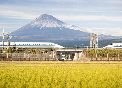Japan, Mount Fuji, trains, Shinkansen - random desktop wallpaper