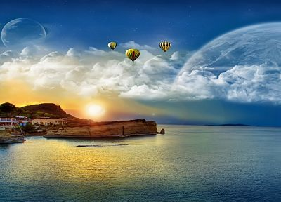 abstract, ocean, Sun, aircraft, islands, vehicles, hot air balloons, sea - desktop wallpaper