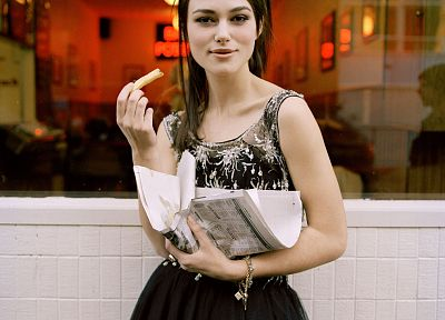 dress, Keira Knightley, french fries, newspapers - related desktop wallpaper