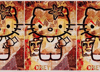 obey, Hello Kitty - random desktop wallpaper