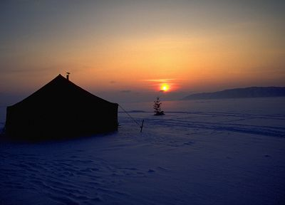 sunset, landscapes, snow, tents - desktop wallpaper