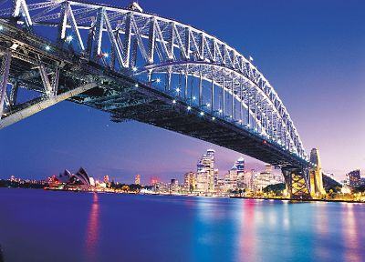 cityscapes, night, bridges, buildings, Sydney - desktop wallpaper