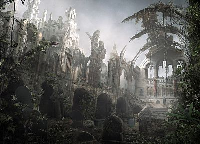 ruins, artwork, post apocalyptic - desktop wallpaper