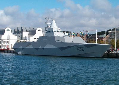 stealth, ships, navy, Swedish, vehicles, Visby class corvette, HSwMS Helsingborg - random desktop wallpaper