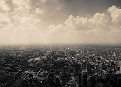 clouds, cityscapes, skylines, Chicago, architecture, urban, buildings, monochrome, cities - related desktop wallpaper