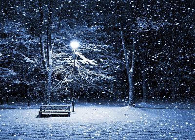 winter, snow, night, bench, lamp posts - random desktop wallpaper