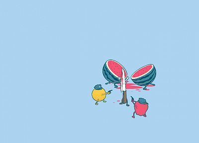 fruits, watermelons, murder, knives - desktop wallpaper