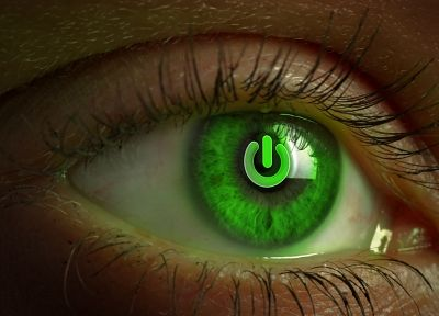 eyes, green eyes, power button - desktop wallpaper