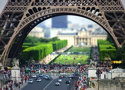 Eiffel Tower, Paris, France, tilt-shift - desktop wallpaper