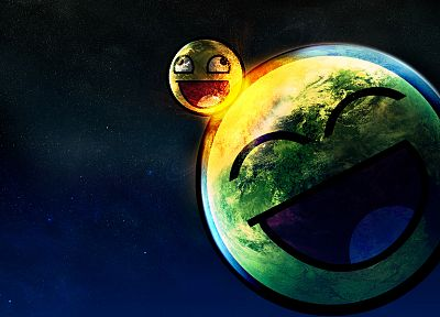 outer space, digital art, Awesome Face - random desktop wallpaper