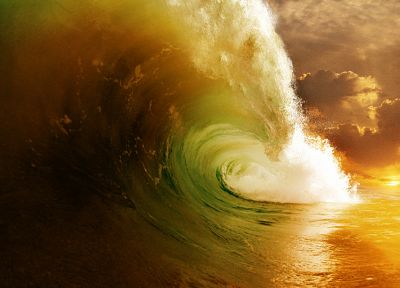 green, ocean, waves, splashes - random desktop wallpaper