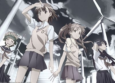 school uniforms, Misaka Mikoto, Toaru Kagaku no Railgun, Uiharu Kazari, Shirai Kuroko, Saten Ruiko - related desktop wallpaper