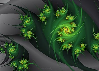 green, abstract, flowers, gray, fractals, embrace - desktop wallpaper