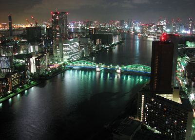 cityscapes, night, architecture, buildings, rivers - related desktop wallpaper