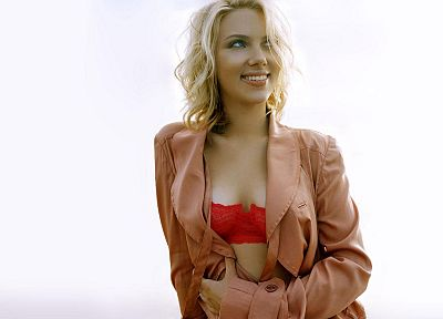 lingerie, blondes, women, Scarlett Johansson - desktop wallpaper