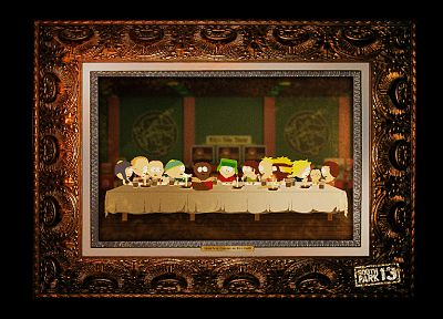 South Park, parody, The Last Supper, frames, Eric Cartman, Kyle Broflovski, Ike Broflovski, Butters Stotch - random desktop wallpaper