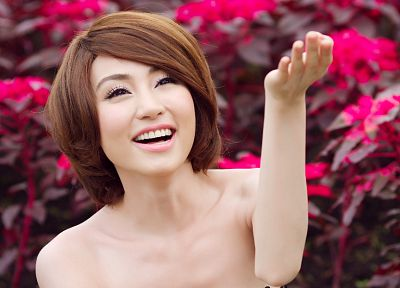 women, flowers, models, Viet Nam, short hair, Asians - random desktop wallpaper