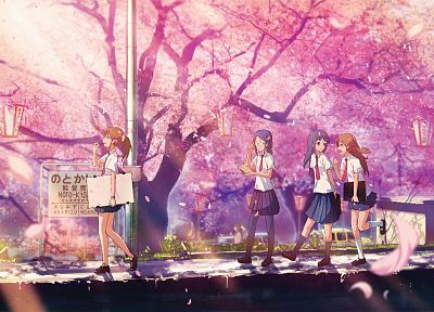 cherry blossoms, school uniforms, outdoors, flower petals, anime girls - desktop wallpaper