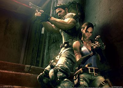 video games, stairways, handguns, Sheva Alomar, Resident Evil 5 - random desktop wallpaper