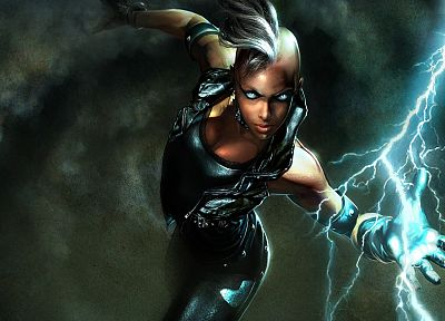 comics, X-Men, fantasy art, digital art, Marvel Comics, lightning, Marvel: Ultimate Alliance, Storm (comics character) - random desktop wallpaper