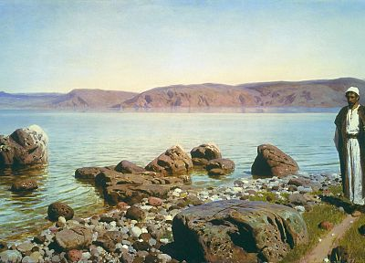 paintings, rocks, artwork, rivers, Vasily Polenov - random desktop wallpaper