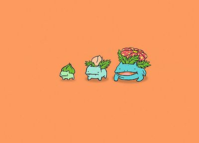 Pokemon, Bulbasaur, Venusaur, Ivysaur, simple background - desktop wallpaper