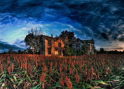 clouds, landscapes, old, houses, corn, HDR photography - random desktop wallpaper