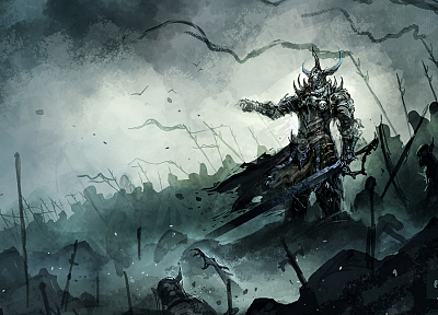 horns, weapons, fantasy art, armor, horde, battles, artwork, warriors, swords - related desktop wallpaper